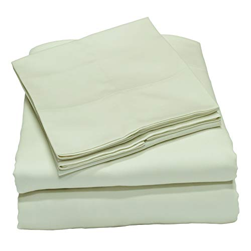 Callista 100% Cotton Sateen Sheet Set 400 Thread Count -Queen Size, Wrinkle-Free, Fade, Stain Resistant, Hypoallergenic -4 Piece Set -1 Flat Sheet, 1 Fitted Sheet and 2 Pillowcase -Light Blue