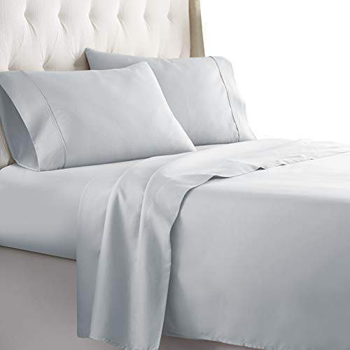 HC COLLECTION-Hotel Luxury Bed Sheets Set 1800 Series Platinum Collection, 4pc Deep Pocket,Wrinkle & Fade Resistant, Hypoallergenic (Queen,Artic Ice Blue)