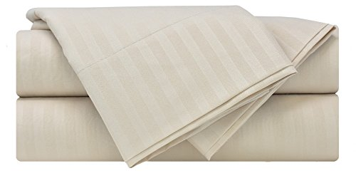 Mezzati Luxury Striped Bed Sheet Set - Soft and Comfortable 1800 Prestige Collection - Brushed Microfiber Bedding (Beige, Queen Size)