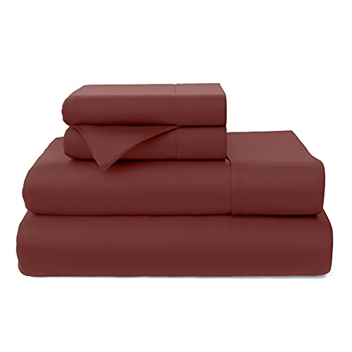 Cosy House Collection Premium Bamboo Sheets - Deep Pocket Bed Sheet Set - Ultra Soft & Cool Breathable Bedding - Blend from Natural Bamboo Fiber - 4 Piece - Cal King, Burgundy