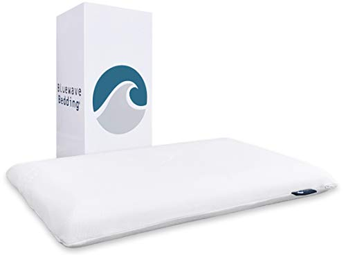 Bluewave Bedding Ultra Slim Gel Memory Foam Pillow for Stomach and Back Sleepers - Thin, Flat Design for Cervical Neck Alignment and Deeper Sleep (2.75-Inches Height, Full Pillow Shape, Standard Size)