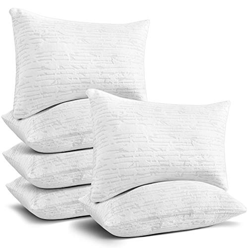 Clara Clark Shredded Memory Foam Pillow with Removable Washable Pillow Cover, Cooling Hypoallergenic Breathable Cover - Adjustable Loft - Queen/Standard Size, Set of 6
