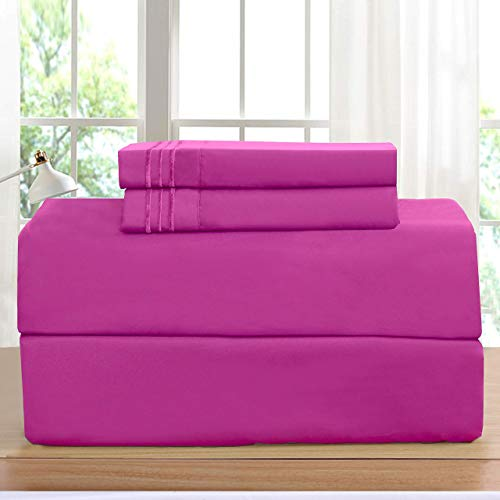Elegant Comfort Luxurious Bed Sheets Set on Amazon 1500 Thread Count Wrinkle,Fade and Stain Resistant 4-Piece Bed Sheet Set, Deep Pocket, Hypoallergenic - Queen Hot Pink