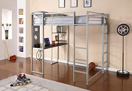DHP Abode Full-Size Loft Bed Metal Frame with Desk, Shelves, and Ladder, Silver