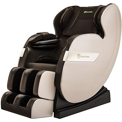 Real Relax Massage Chair, Full Body Zero Gravity Shiatsu Massage Recliner with Bluetooth Heat Foot Roller, FAVOR-03 Plus(Brown and Khaki)