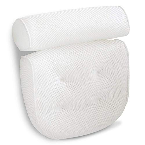 Viventive Luxurious Bath Pillow Non-Slip and Extra Thick with Head, Neck, Shoulder and Back Support. Soft and Large 14x13x4 Inches for The Ultimate Bathtub Relaxation Experience. Fits Any Tub