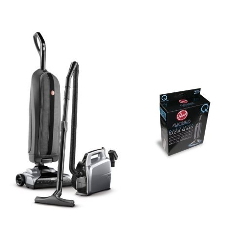Hoover Platinum Collection Lightweight Bagged Upright with Canister, UH30010COM - Corded and Hoover AH10000 Platinum Type-Q HEPA Vacuum Bag, 2 Count Bundle