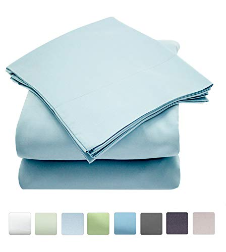Callista 100% Cotton Sateen Sheet Sets 400 Thread Count -Queen Size, Wrinkle-Free, Fade, Stain Resistant, Hypoallergenic -4 Piece -1 Flat Sheet 1 Fitted Sheet and 2 Pillowcase -Light Blue