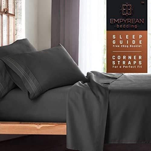 Queen Size Bed Sheets Set, Grey Charcoal (Gray) - Soft Luxury Best Quality 4-Piece Bed Set - Features Special Tight Fit Corner Straps on Extra Deep Pocket Fitted Sheets + Fun'Better Sleep Guide'