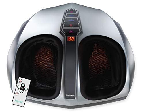 Belmint Shiatsu Foot Massager Machine with Heat - Multi Setting Electric Feet Massager with Deep Kneading Massage Therapy and Air Compression - Delivers Relief for Tired Muscles and Plantar Fasciitis