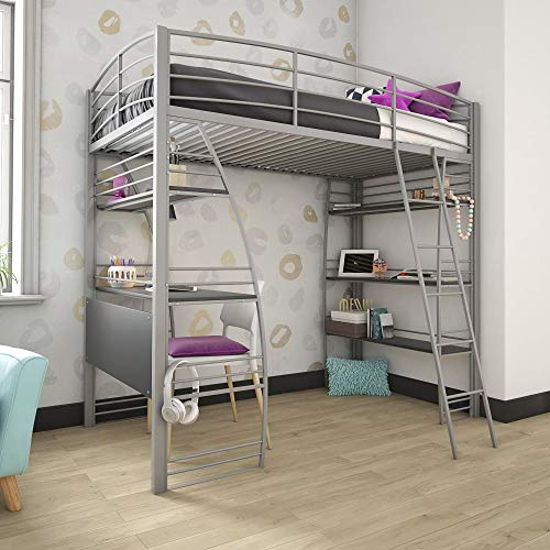 DHP Studio Loft Bunk Bed Over Desk and Bookcase with Metal Frame, Gray, Twin