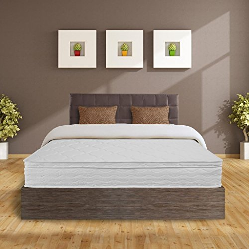 Best Price Mattress 10' Independent Operating Coil Euro Top Spring Mattress, Full, White