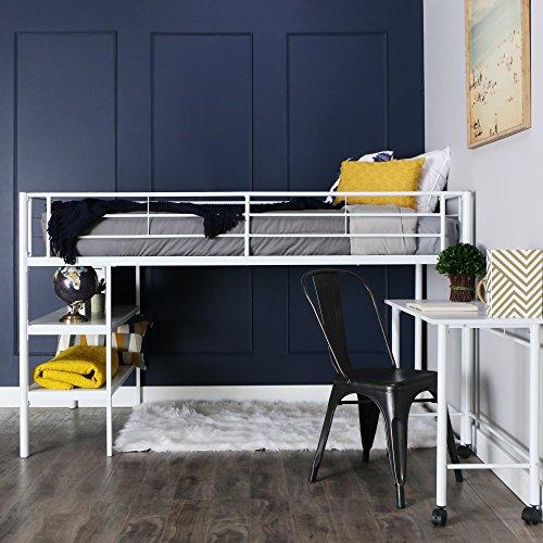 Walker Edison Furniture Company Modern Metal Pipe Twin Size Loft Kids Bunk bed Bedroom Storage Guard Rail Ladder, White
