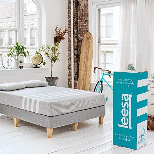 Leesa Original Bed-in-a-Box, Three Premium Foam Layers Mattress, Queen, Gray & White