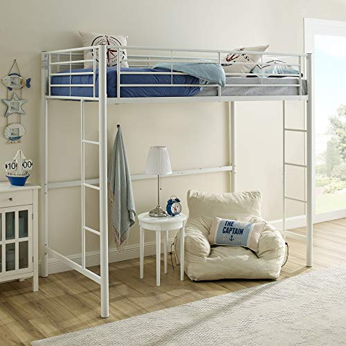Walker Edison Orion Urban Industrial Metal Twin over Loft Bunk Bed, Twin Size, White