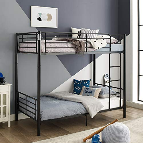 Walker Edison Furniture Company Modern Metal Pipe Twin Bunk Kids Bed Bedroom Storage Guard Rail Ladder, Black