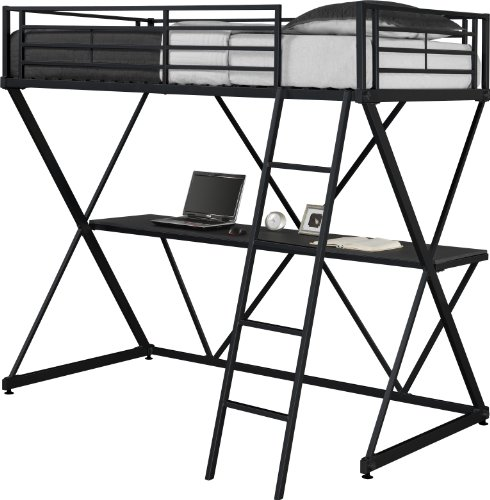 DHP X-Loft Metal Bunk Bed Frame with Desk - Space Saving Design - Twin, Black