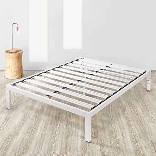 Mellow Rocky Base C 14' Platform Bed Heavy Duty Steel White, w/ Patented Wide Steel Slats (No Box Spring Needed) - Queen