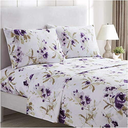 Mellanni Bed Sheet Set - Brushed Microfiber 1800 Bedding - Wrinkle, Fade, Stain Resistant - 4 Piece (Queen, Madison Purple)