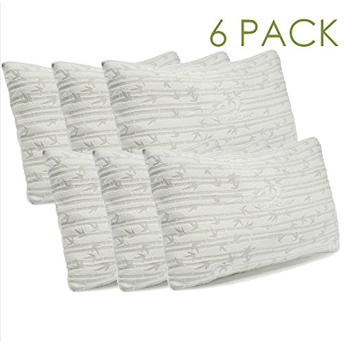 Clara Clark Shredded Memory Foam Pillow with Removable Washable Pillow Cover, Queen/Standard Size, Set of 6