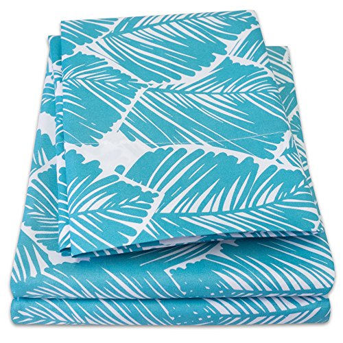 1500 Supreme Collection Extra Soft Tropical Leaf Teal Pattern Sheet Set, Queen - Luxury Bed Sheets Set with Deep Pocket Wrinkle Free Bedding, Trending Printed Pattern, Queen Size